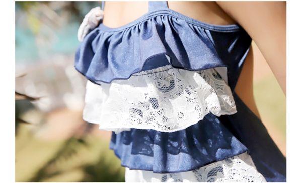 【即納】デニム調キュート&セクシー・ワンピース水着-tkm-n7139-bl-m-【カラー:ブルー】-【サイズ:M】