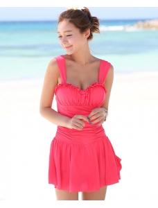【即納】ファッションワンピース水着 tkm-n7150-xl-srd【カラー:スイカレッド】【サイズ:XL】