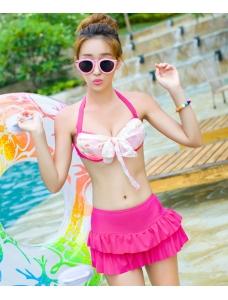 【即納】スカート風ワイヤービキニ水着3点セット-n7187【カラー:ピンク】【サイズ:M】
