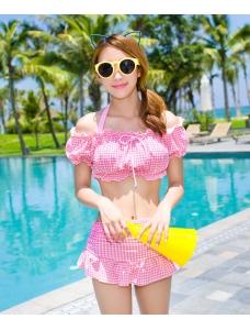 【即納】ホルターネック水着ビキニ水着3点セット-tkm-n7194-p-m-【カラー:ピンク】-【サイズ:M】