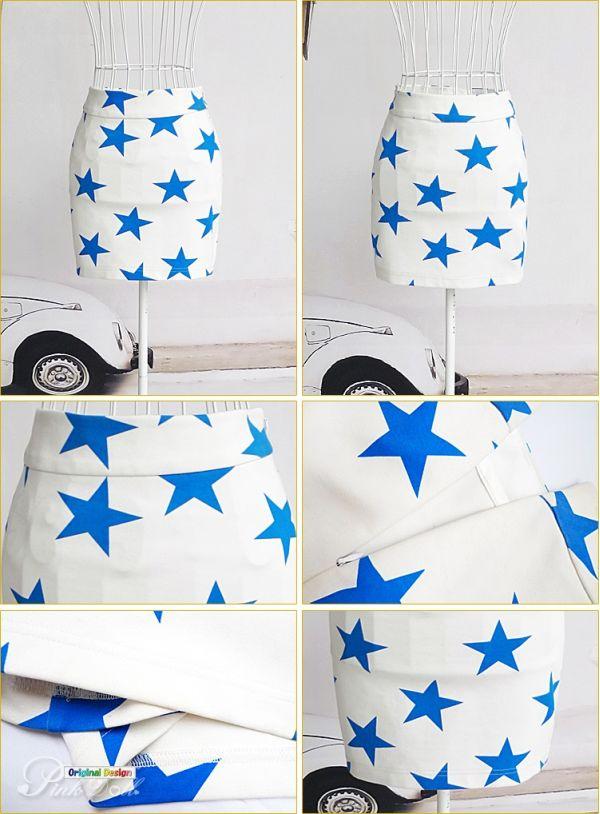 【即納】ミニスカート タイト 青い星-pk0051-tk-pk0051-gz-s【カラー:画像】【サイズ:S】