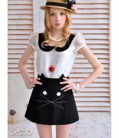 【即納】ミニスカート/ネコ-tk-pk0246-bk-s-628-【カラー:ブラック】-【サイズ:S】