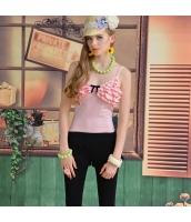 キャミソール 胸元段々フリル リボン飾り 裾フレア 細身 無地 ベーシック【ピンク】[S,M,L] pk1557-2