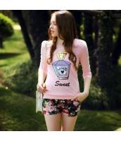 長袖Tシャツ 胸元スパンコール飾り パフスリーブ クルーネック/丸首 無地【ピンク】[S/M/L] pk1923-1