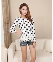 水玉プリント裾段々フレア刺繍レースゆったり大きいサイズあり ブラウス 柄物 七分袖 シャツ トップスQC6091
