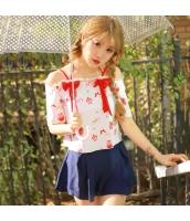 ビキニ水着 オフショルダービーチカバーセット スカート一体型ビキニショーツ パフェ柄 上下別カラー/別柄 赤x紺 qd17012-1