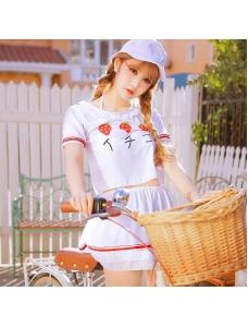 ビキニ水着 ビーチカバー&ビーチスカートセット ビキニショーツ 苺柄 ホワイト/白色 qd17017-1