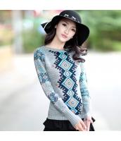 ガーベラレディース 幾何模様 ショート丈 薄手 ニットウェア セーター rp10018-1