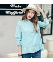 ガーベラレディース 刺繍 カジュアル ぺプラム裾 ホワイト シャツ 長袖 rp10053-1