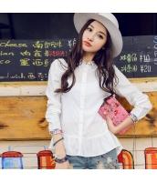 ガーベラレディース 刺繍 カジュアル ぺプラム裾 ホワイト シャツ 長袖 rp10053-3