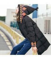 ガーベラレディース フード付き 刺繍 ダウンコート ミディアム丈 rp10065-1