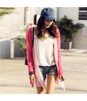 ガーベラレディース シフォン切替 重ね着風 ピンク 薄手 カーディガン ニット・セーター 長袖 rp10097-1