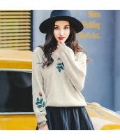 ガーベラレディース Vネック 刺繍 ゆったり ニットウェア セーター rp10100-2