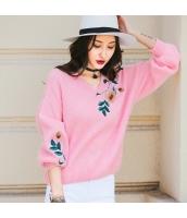 ガーベラレディース Vネック 刺繍 ゆったり ニットウェア セーター rp10100-3