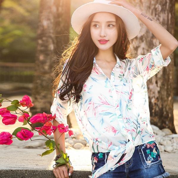 ガーベラレディース 花柄 シフォン シャツ 七分袖 rp10133-1