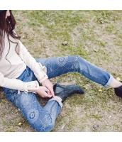 ガーベラレディース ハイウエスト 刺繍 ストレート ジーンズ・デニムパンツ rp10350-1