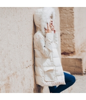 ガーベラレディース フード付き 刺繍 着やせ ダウンコート ミディアム丈コート rp10364-1
