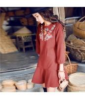 ガーベラレディース 丸首 刺繍 ランタン袖 ぺプラム裾 ミニワンピース Aラインワンピース rp10376-1