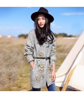 ガーベラレディース 刺繍 ウール フリースコート ミディアム丈コート rp10420-1