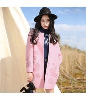 ガーベラレディース 刺繍 ウール フリースコート ミディアム丈コート rp10420-2
