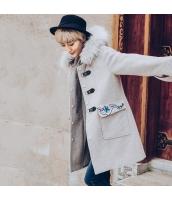ガーベラレディース ファー襟 フード付き 刺繍 フリースコート ダッフルコート ミディアム丈コート rp10422-1