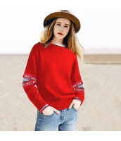 ガーベラレディース 丸首 刺繍 ダメージ ゆったり ニットウェア セーター 長袖 rp10455-2
