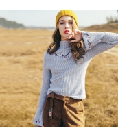 ガーベラレディース 刺繍 ワイド袖 プルオーバー ニットウェア セーター 長袖 rp10462-2