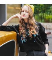 ガーベラレディース 丸首 刺繍 ドロップショルダー ゆったり 厚手 ニットウェア セーター 長袖 rp10465-1