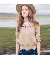 ガーベラレディース 刺繍入り プルオーバー ドロップショルダー ニットウェア セーター 長袖 rp10466-1