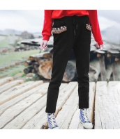 ガーベラレディース ゴムウエスト 刺繍 裏起毛 カジュアル スウェットパンツ サブリナパンツ rp10527-2