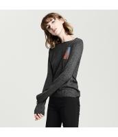 ガーベラレディース 丸首 刺繡入り コーデアイテム ゆったり ニットウェア セーター 長袖 rp10532-1