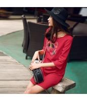 ガーベラレディース チャイナドレス ミニドレス 刺繍入り 七分袖 rp10603-1