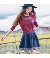 ガーベラレディース デニムスカート フレアスカート ミニスカート 刺繍入り rp10949-1