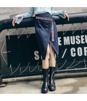 ガーベラレディース デニムスカート ラップスカート 膝丈スカート 刺繍入り rp10957-1