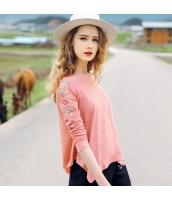 ガーベラレディース Tシャツ カットソー 長袖 刺繍入り イレギュラー裾 rp11459-1