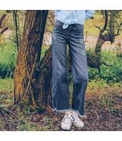 ガーベラレディース ジーンズ デニムパンツ ワイドパンツ 刺繍入り フリンジ裾 春物 rp11666-1