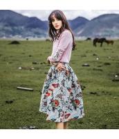 ガーベラレディース フレアスカート 膝丈スカート 花柄 秋物 rp11854-1