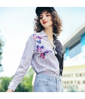 ガーベラレディース シャツ 長袖 着やせ 刺繍入り 春物 rp11937-1