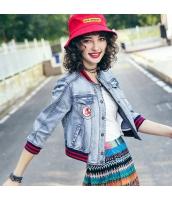 ガーベラレディース デニムジャケット スタジャン 着やせ ワッペン刺繍 春物 rp11952-1