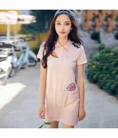 ガーベラ 貼布刺繍 パッチワーク 半袖 スカート スリット ニット ワンピース rp9013-1
