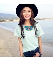 ガーベラ 丸首 貼布刺繍 プルオーバー 半袖 ニット Tシャツ rp9018-1
