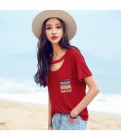 ガーベラ 丸首 ホロー 刺繍 プルオーバー ニット ゆったり 半袖 Tシャツ rp9025-1