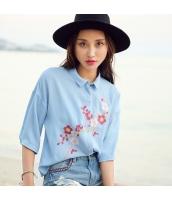 ガーベラ スリット ドロップショルダー 半袖 シャツ 刺繍 シングルボタン シャツ rp9036-1