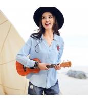 ガーベラ 刺繍 ポケット 長袖 シャツ シングルボタン 丸い裾 シャツ rp9039-1