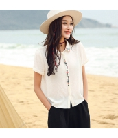 ガーベラ 刺繍 半袖 シャツ ストレート シフォン シャツ rp9044-1