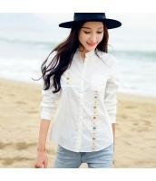 ガーベラ スタントカラー 刺繍 ポケット シャツ シングルボタン 長袖 丸い裾 シャツ rp9045-1