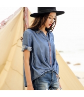 ガーベラ 刺繍 シャツ 七分袖 ギャザー 丸い裾 シャツ rp9058-1