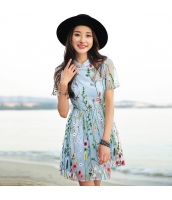 ガーベラ スタントカラー 半袖 スカート 刺繍 シフォン A裾 ワンピース rp9082-1