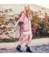 ガーベラ 刺繍 レース 切替 コート 半袖 フリンジ裾 シフォン ブラウス rp9091-1