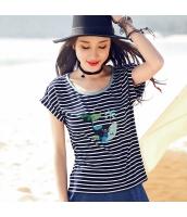ガーベラ パッチワーク 丸首 刺繍 半袖 ブルー白 ボーダー ニット Tシャツ rp9096-1